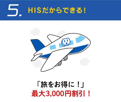 HISだからできる!「旅をお得に!」最大3,000円割引